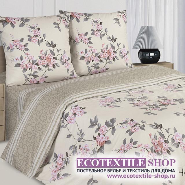 Постельное белье Ecotex Poetica Черешневый цвет на резинке (размер евро)