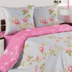 Постельное белье Ecotex Poetica Розовый букет на резинке (размер 2-спальный)