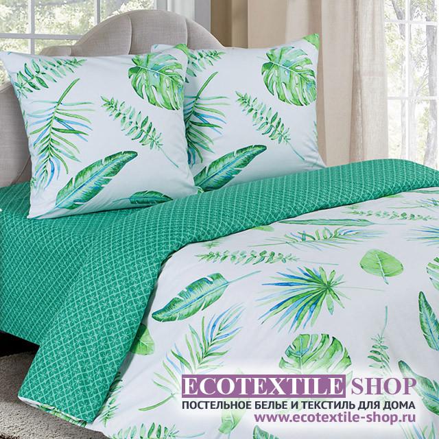 Постельное белье Ecotex Poetica Тропики на резинке (размер 2-спальный)