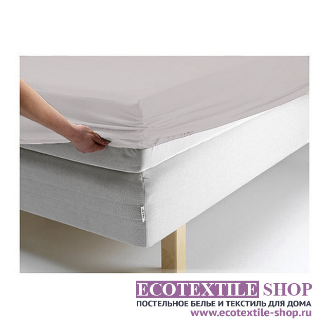 Простыня Ecotex джерси бежевая на резинке (размер 90х200 см)