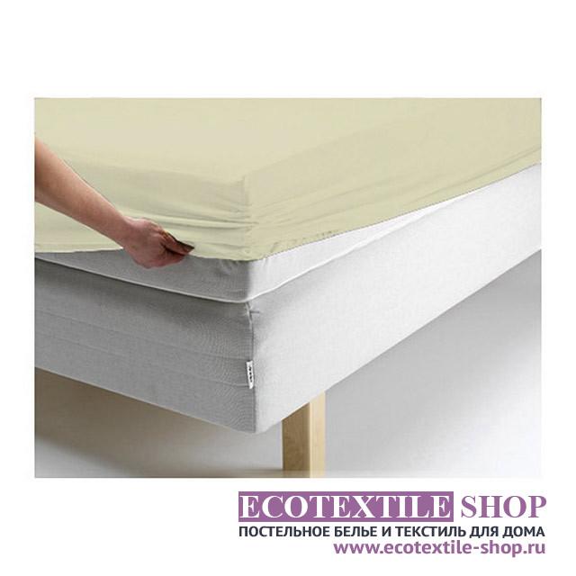 Простыня Ecotex джерси оливковая на резинке (размер 90х200 см)