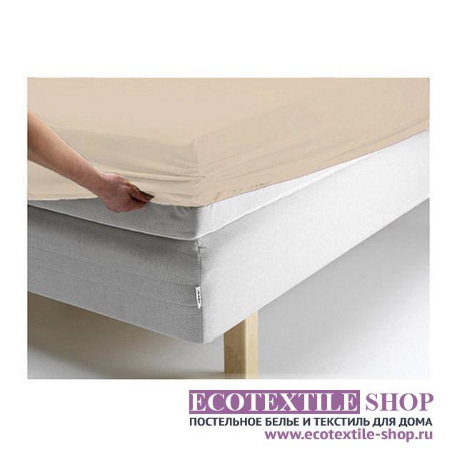 Простыня Ecotex джерси персиковая на резинке (размер 160х200 см)