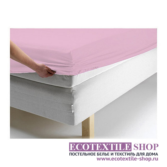 Простыня Ecotex джерси розовая на резинке (размер 180х200 см)