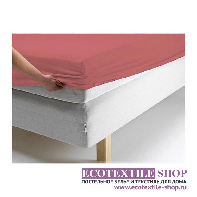 Простыня Ecotex джерси терракотовая на резинке (размер 180х200 см)