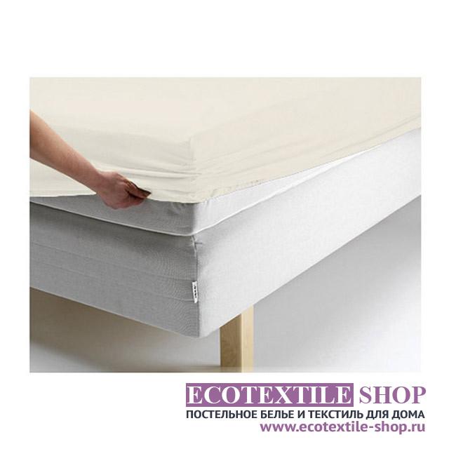 Простыня Ecotex джерси ванильная на резинке (размер 160х200 см)