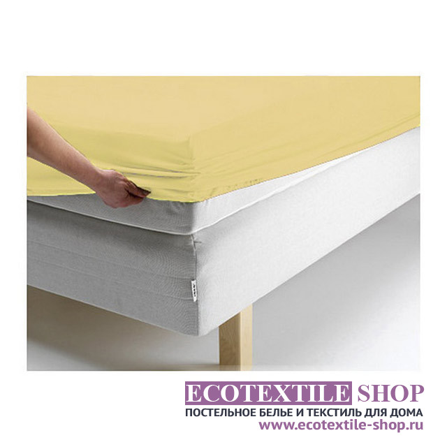 Простыня Ecotex джерси жёлтая на резинке (размер 180х200 см)