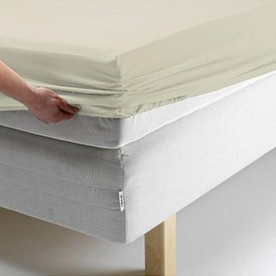 Простыня Ecotex поплин бежевая на резинке (размер 180х200 см)