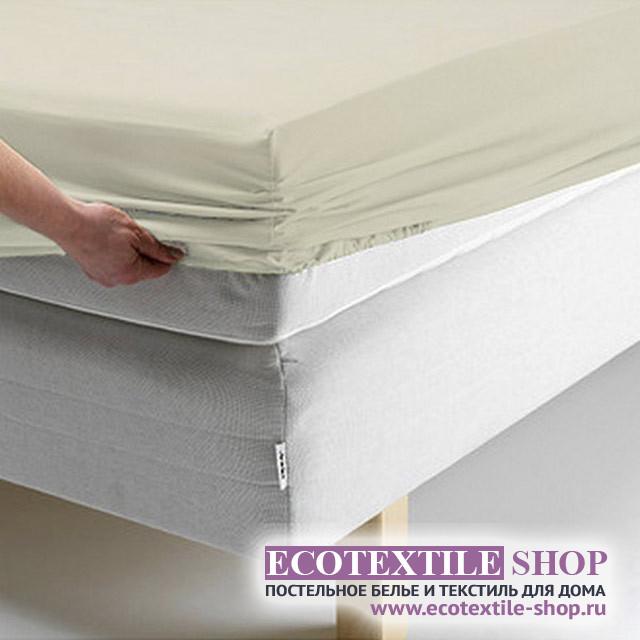Простыня Ecotex поплин бежевая на резинке (размер 160х200 см)