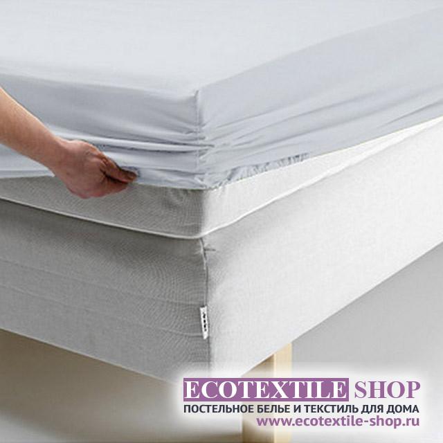 Простыня Ecotex поплин голубая на резинке (размер 200х200 см)