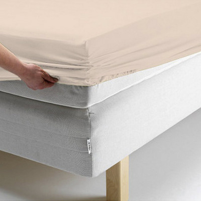 Простыня Ecotex поплин персиковая на резинке (размер 140х200 см)