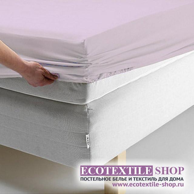 Простыня Ecotex поплин сиреневая на резинке (размер 90х200 см)