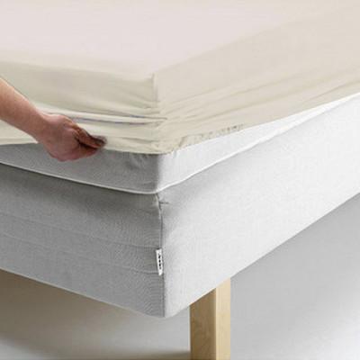 Простыня Ecotex поплин ванильная на резинке (размер 180х200 см)