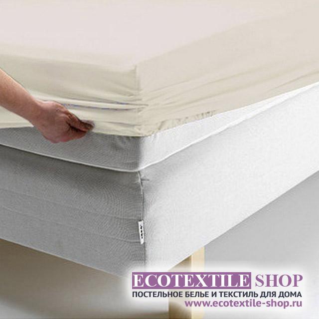 Простыня Ecotex поплин ванильная на резинке (размер 200х200 см)