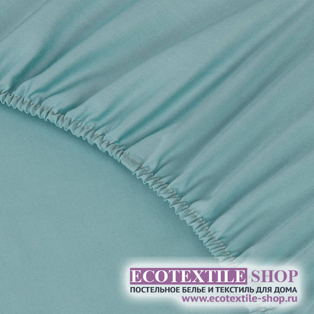 Простыня Ecotex сатин бирюзовая на резинке (размер 180х200 см)