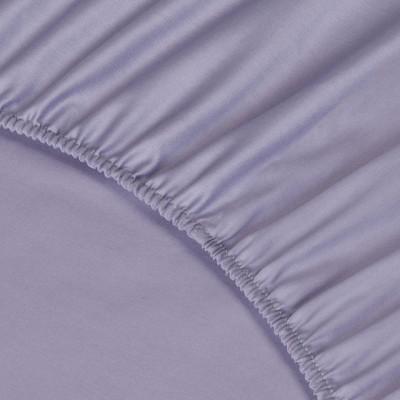 Простыня Ecotex сатин фиолетовая на резинке (размер 90х200 см)