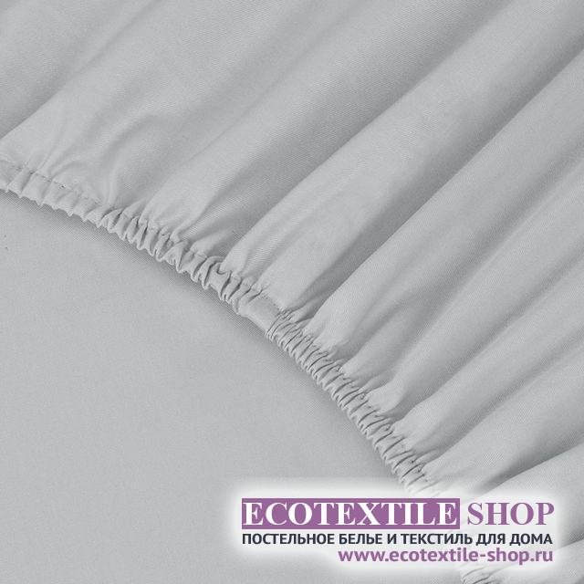 Простыня Ecotex сатин серая на резинке (размер 90х200 см)