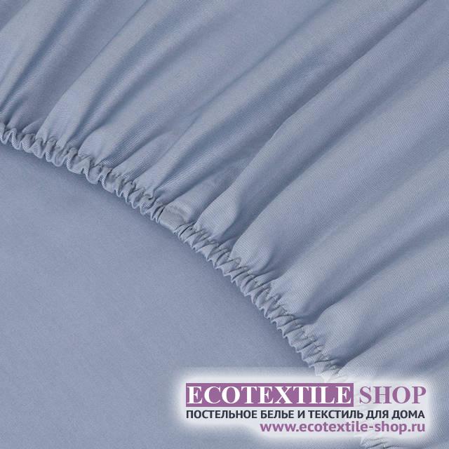 Простыня Ecotex сатин серо-голубая на резинке (размер 180х200 см)