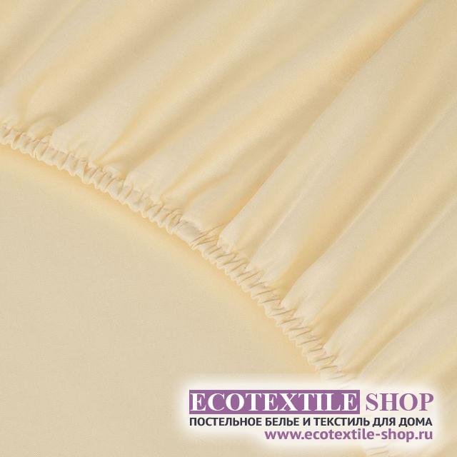 Простыня Ecotex сатин кремовая на резинке (размер 160х200 см)