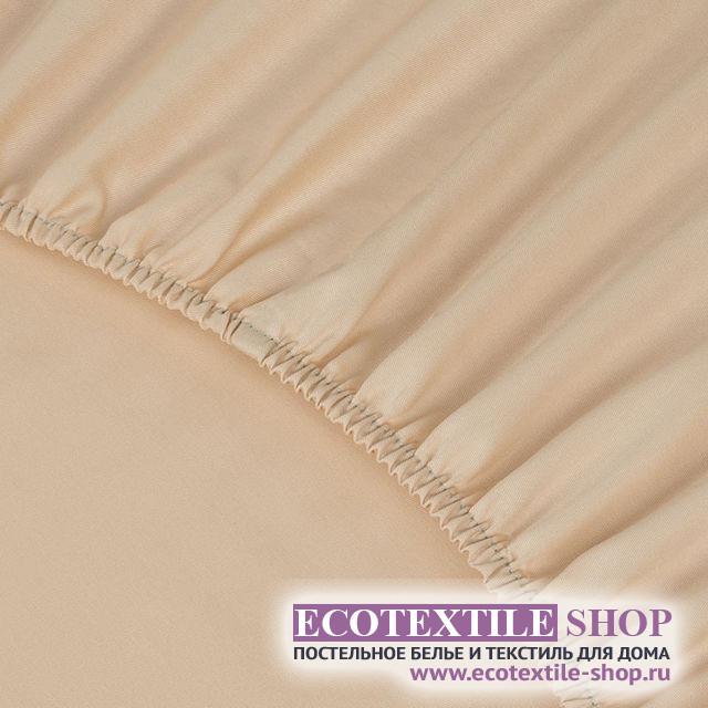 Простыня Ecotex сатин персиковая на резинке (размер 160х200 см)