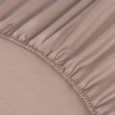 Простыня Ecotex сатин пудровая на резинке (размер 200х200 см)