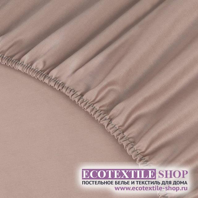 Простыня Ecotex сатин пудровая на резинке (размер 160х200 см)