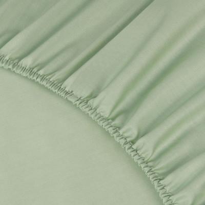 Простыня Ecotex сатин салатовая на резинке (размер 200х200 см)