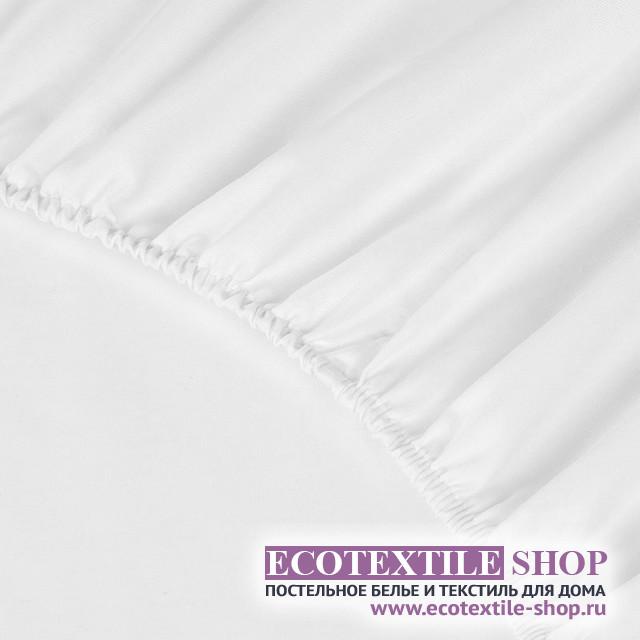 Простыня Ecotex сатин белая на резинке (размер 160х200 см)