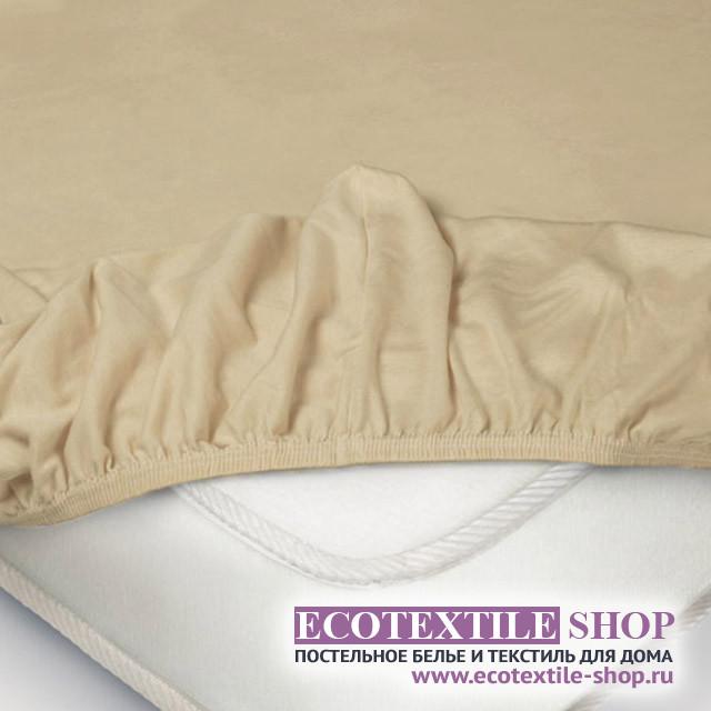 Простыня Ecotex трикотаж бежевая на резинке (размер 200х200 см)