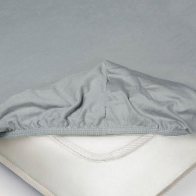 Простыня Ecotex трикотаж серая на резинке (размер 140х200 см)