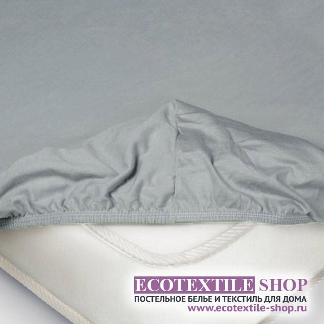 Простыня Ecotex трикотаж серая на резинке (размер 160х200 см)