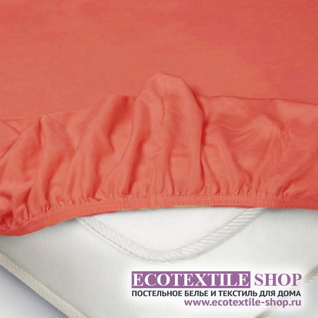 Простыня Ecotex трикотаж коралл на резинке (размер 140х200 см)