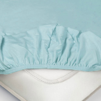 Простыня Ecotex трикотаж голубая на резинке (размер 90х200 см)
