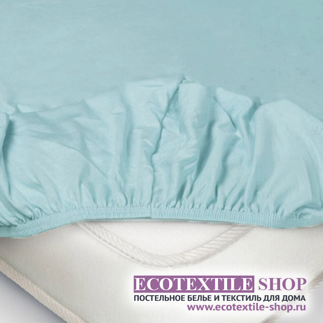 Простыня Ecotex трикотаж голубая на резинке (размер 200х200 см)