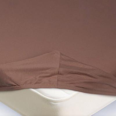 Простыня Ecotex трикотаж светло-коричневая на резинке (размер 140х200 см)