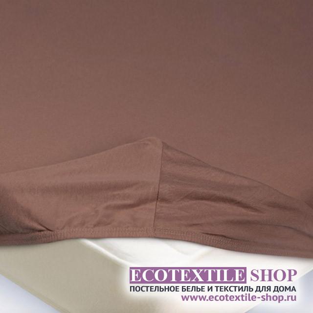 Простыня Ecotex трикотаж светло-коричневая на резинке (размер 180х200 см)