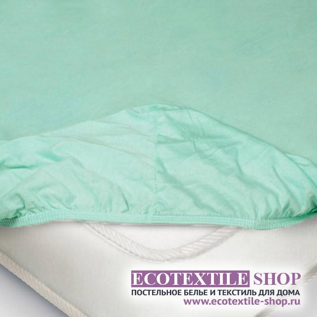 Простыня Ecotex трикотаж ментоловая на резинке (размер 90х200 см)