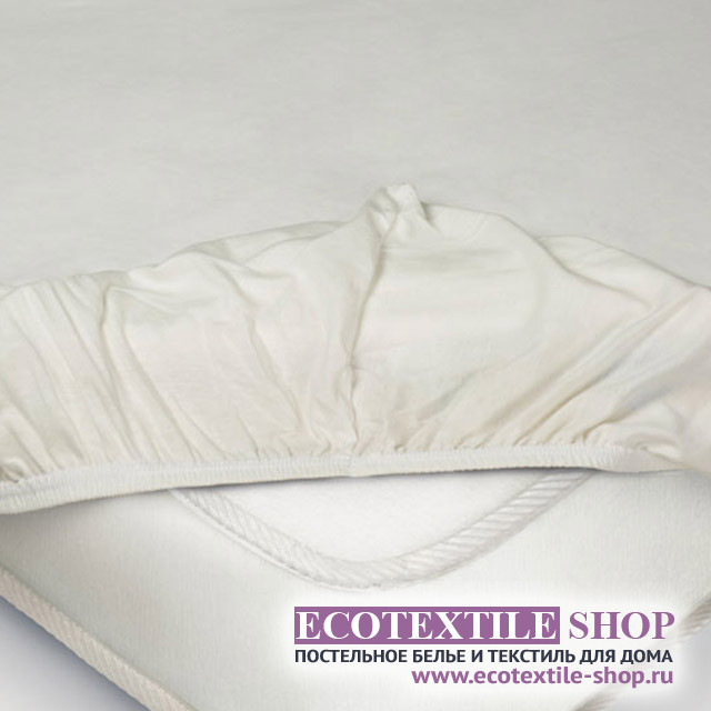 Простыня Ecotex трикотаж молочная на резинке (размер 90х200 см)