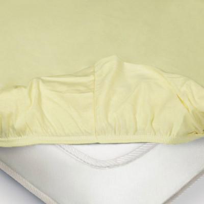 Простыня Ecotex трикотаж нежно-жёлтая на резинке (размер 140х200 см)