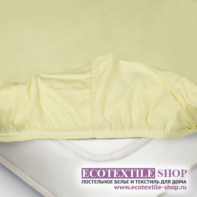 Простыня Ecotex трикотаж нежно-жёлтая на резинке (размер 160х200 см)