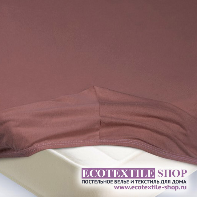 Простыня Ecotex трикотаж лиловая на резинке (размер 180х200 см)