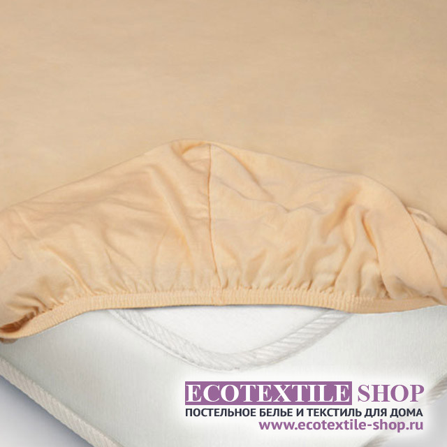 Простыня Ecotex трикотаж персиковая на резинке (размер 140х200 см)